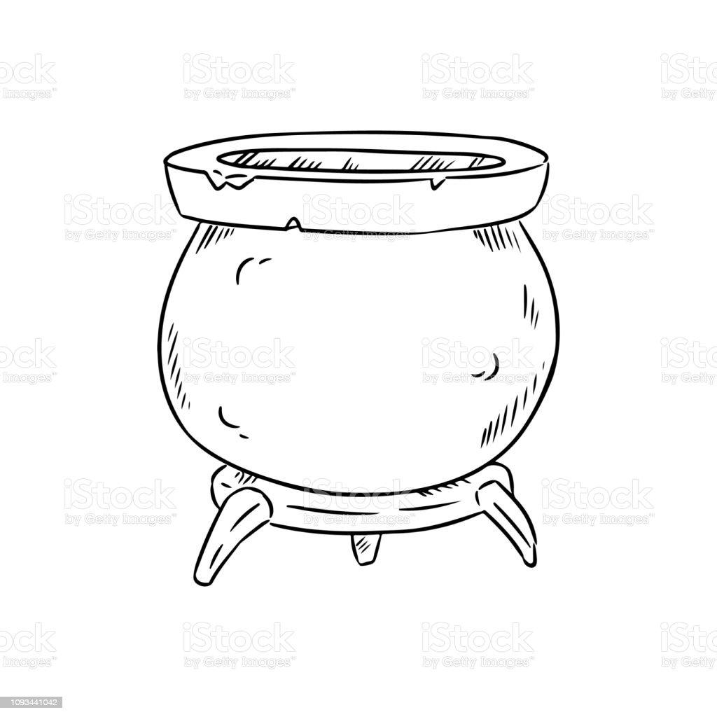 Magic Cauldron Doodle Sketch Hand Drawn Wiccan Design Alchemy