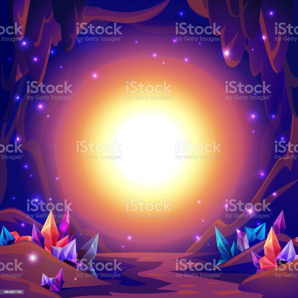 魔法の洞窟妖精のクリスタルと謎の光で洞窟の風景ファンタジー背景
