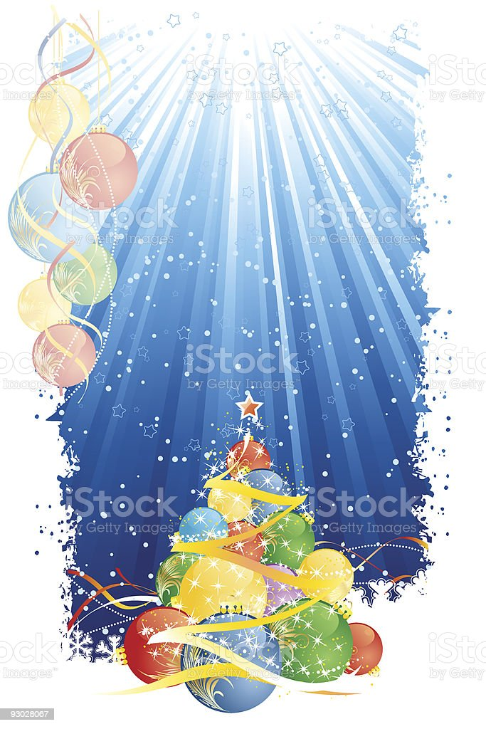 Magic Christmas tree and vertical blue stripes royalty-free stock vector art