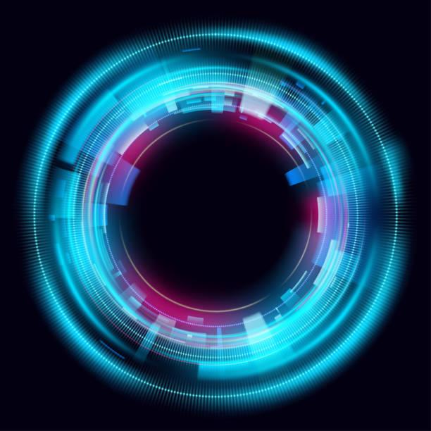 Magische Kreis Lichteffekte. Illustration isoliert auf dunklem Hintergrund. Mystisches Portal. Helle Kugellinse. Rotierende Linien. Glühring. Magische Neon-Ball. Vektor. Eps10 – Vektorgrafik