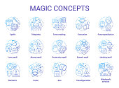 Magic concept icons set. Occultism, sorcery and witchcraft idea thin line illustrations. Various spells and alchemy potions. Fortune telling and divination service. Vector isolated outline drawings