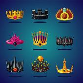 Magic crown fantasy collection. King corona. Game design cartoon vector icon.