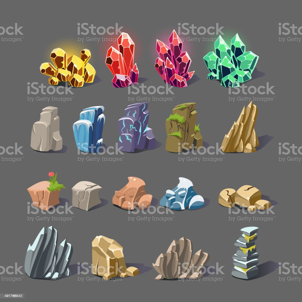 Magic Crystal and Rock Textures vector art illustration