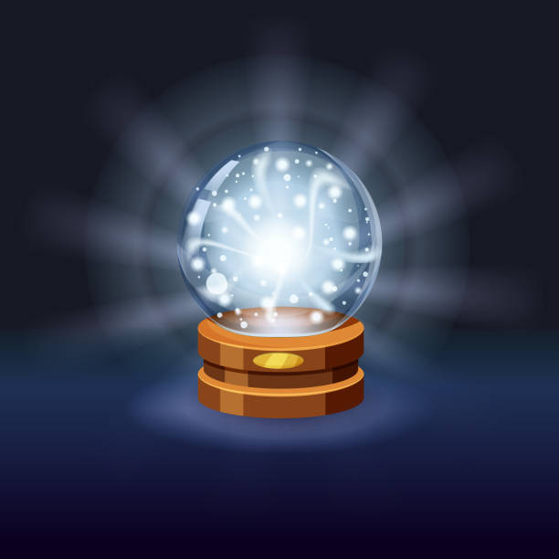 Magic crystal ball fortune, mistery, shining, magic, predictions, sphere, light effects, glow, vector, illustration, isolated, cartoon style Magic crystal ball shining, magic, predictions, sphere light effects mistery stock illustrations