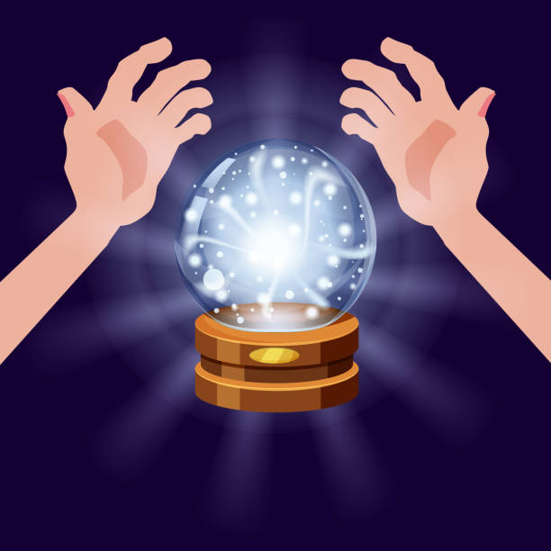 Magic crystal ball fortune, open hands, mistery, shining, magic, predictions, sphere, light effects, glow, vector, illustration, isolated, cartoon style Magic crystal ball shining, open hands, magic, predictions, sphere light effects mistery stock illustrations