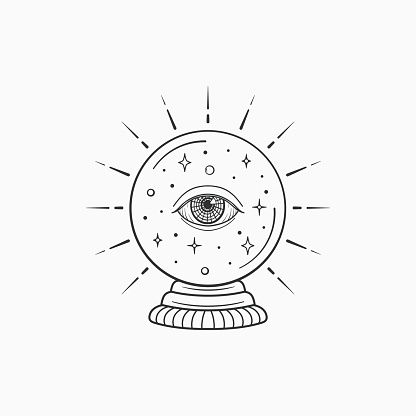 Magic crystal ball future. Witch and magic symbol, monochrome vector illustration, isolated on white background