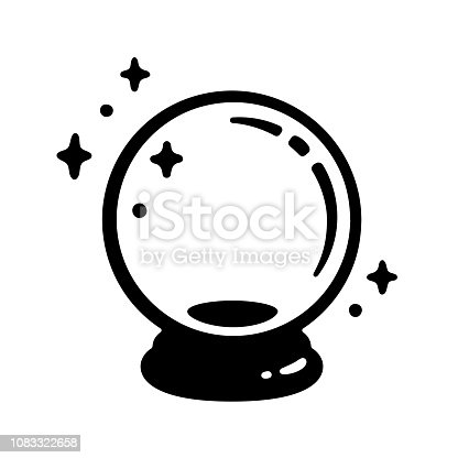 Magic crystal ball icon. Black and white fortune telling glass globe. Vector illustration, simple logo design.