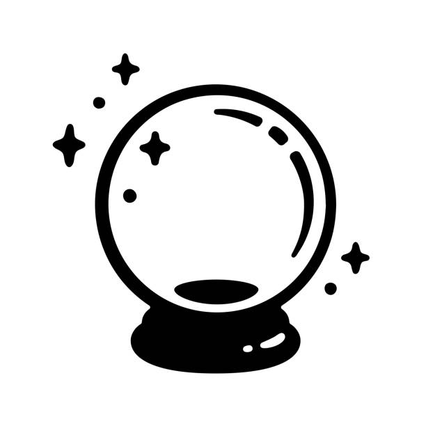 Magic crystal ball Magic crystal ball icon. Black and white fortune telling glass globe. Vector illustration, simple logo design. forecasting stock illustrations