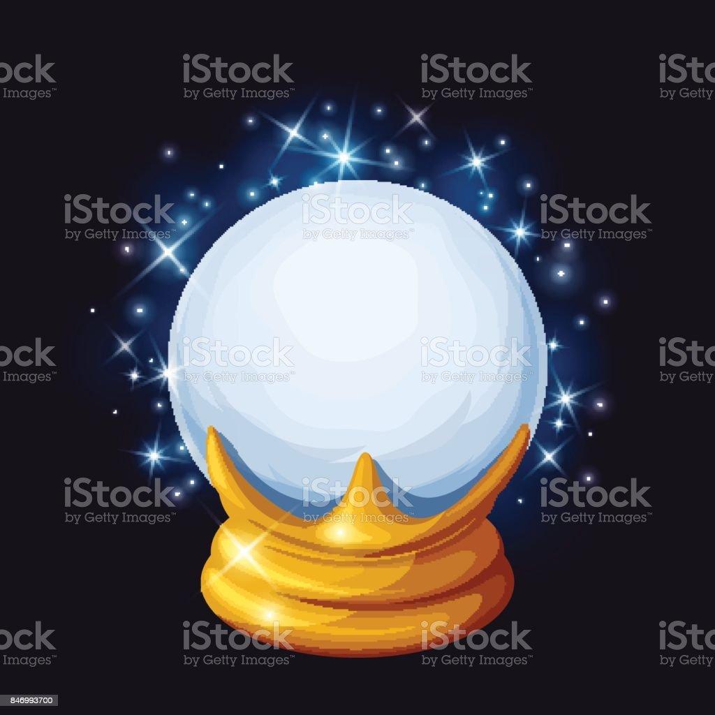 Bola mágica de cristal con destellos. Ilustración de vector. - ilustración de arte vectorial