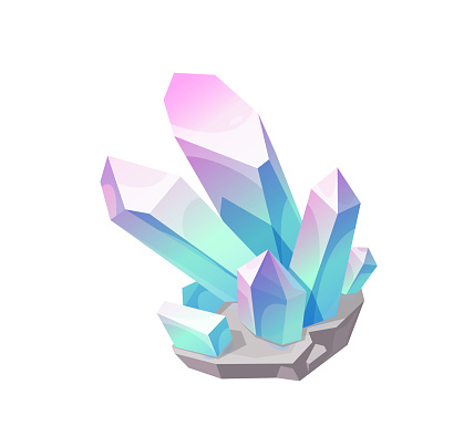 Magic crystal gem, vector blue with pink jewel