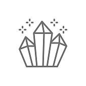 Magic crystals, diamonds line icon.