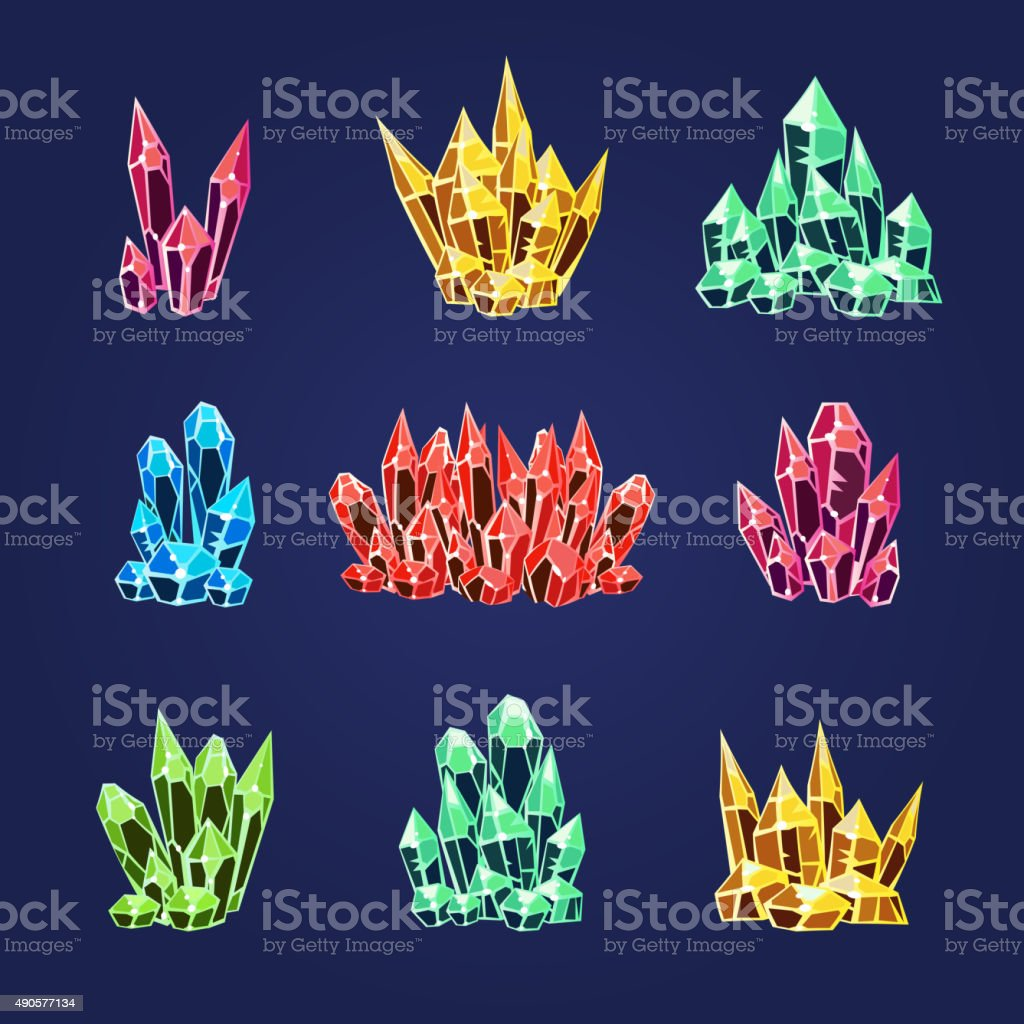 Magic Crystals Icons Textures vector art illustration
