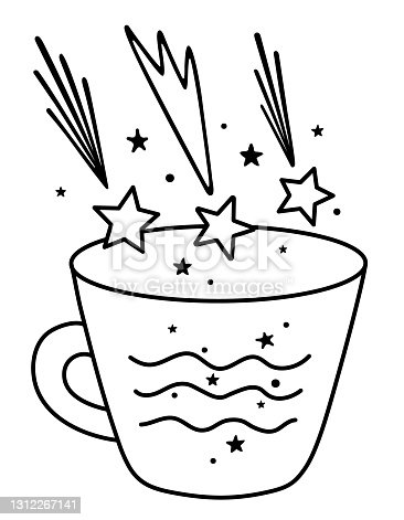 A magic cup and falling stars. Space and the ocean inside the mug. Stylish print for t-shirts, cards, stickers, goods, packaging, design. Vector stock illustration. Black lines isolated on a white.