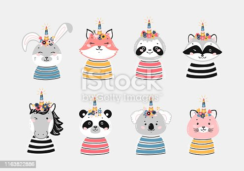 Magic Cute Unicorn Animals with Flower Horn Vector Set for Kids Fashion. Magical Kawaii Animal Faces Print for Nursery, Scandinavian Poster, Baby Shower, Birthday