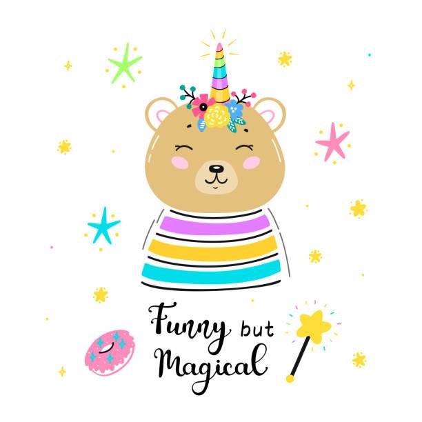 フラワーホーンと「おかしいが魔法」引用ベクトルイラストと魔法かわいいユニコーンブラウンベア。かわいいテディベアtシャツプリント、ベビーシャワーカード、託児ポスター、誕生日 - 花のボーダー点のイラスト素材/クリップアート素材/マンガ素材/アイコン素材
