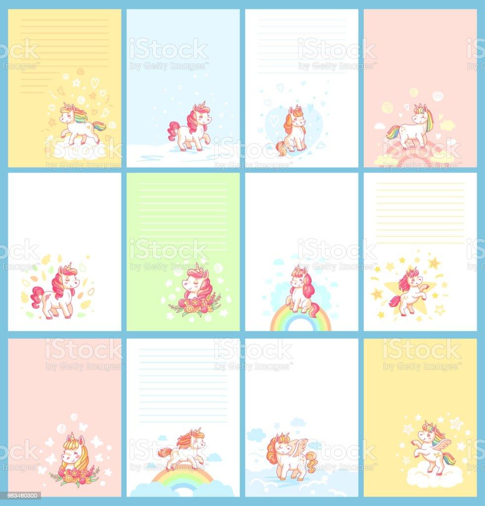 Birthday Calendar.Magic Cute Unicorn Cartoon Template For Birthday Calendar Girl Journal Card Children Note Or Planner For Kids Cards Vector Set Stock Illustration