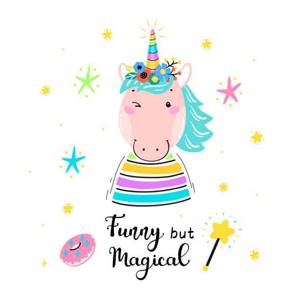 フラワーホーンと「おかしいが魔法」引用ベクトルイラストと魔法かわいいユニコーン馬。カワイイユニコーンtシャツプリント、ベビーシャワーカード、託児ポスター、誕生日 - 花のボーダー点のイラスト素材/クリップアート素材/マンガ素材/アイコン素材