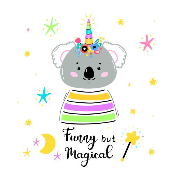 フラワーホーンと「おかしいが魔法」引用ベクトルイラストと魔法かわいいユニコーンコアラベア。かわいい動物tシャツプリント、ベビーシャワーカード、託児ポスター、誕生日 - 花のボーダー点のイラスト素材/クリップアート素材/マンガ素材/アイコン素材