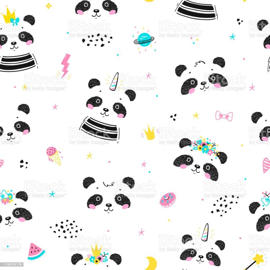 Magic Cute Unicorn Panda Bear And Little Princess Pandas With