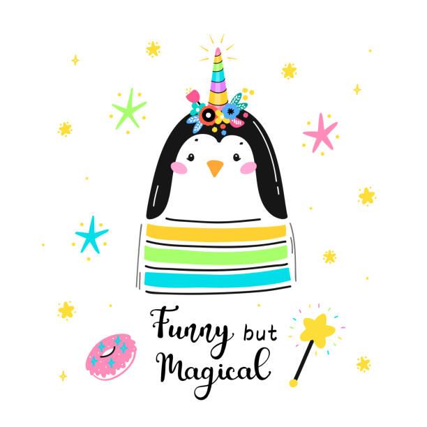 フラワーホーンと「おかしいが魔法」引用ベクトルイラストと魔法かわいいユニコーンペンギン。かわいい動物tシャツプリント、ベビーシャワーカード、託児ポスター、誕生日 - 花のボーダー点のイラスト素材/クリップアート素材/マンガ素材/アイコン素材