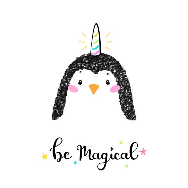 ホーンと魔法かわいいユニコーンペンギンと「魔法になる」子供のためのベクトルイラストを引用。かわいい動物tシャツプリント、ベビーシャワーカード、託児ポスター、誕生日 - 花のボーダー点のイラスト素材/クリップアート素材/マンガ素材/アイコン素材