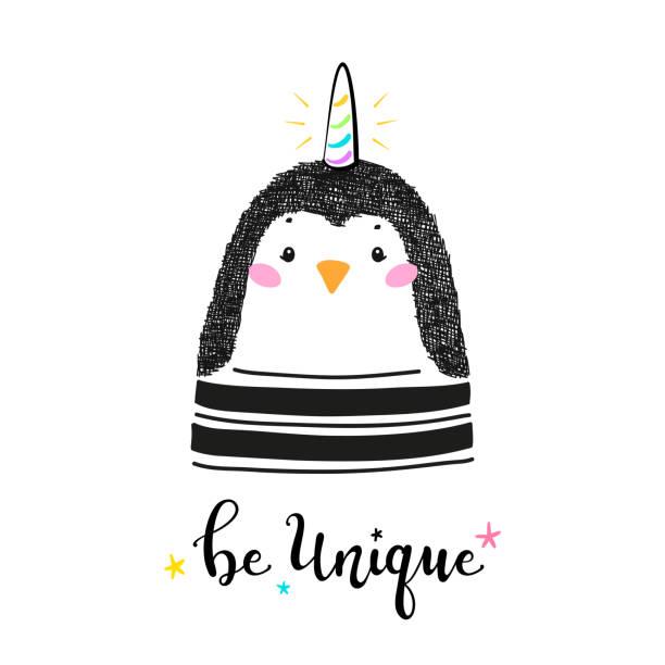 ホーンと魔法かわいいユニコーンペンギンと「ユニークになる」子供のためのベクトルイラストを引用。かわいい動物tシャツプリント、ベビーシャワーカード、託児ポスター、誕生日 - 花のボーダー点のイラスト素材/クリップアート素材/マンガ素材/アイコン素材