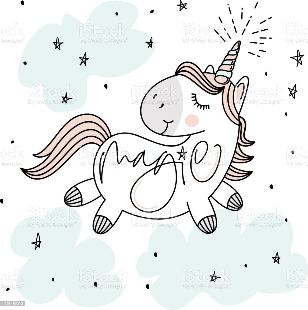 Magic cute unicorn, stars, clouds and hand lettering poster, greeting card, vector illustration with outline vector art illustration