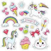Magic cute unicorn, stars on the clouds poster, greeting card, vector illustration