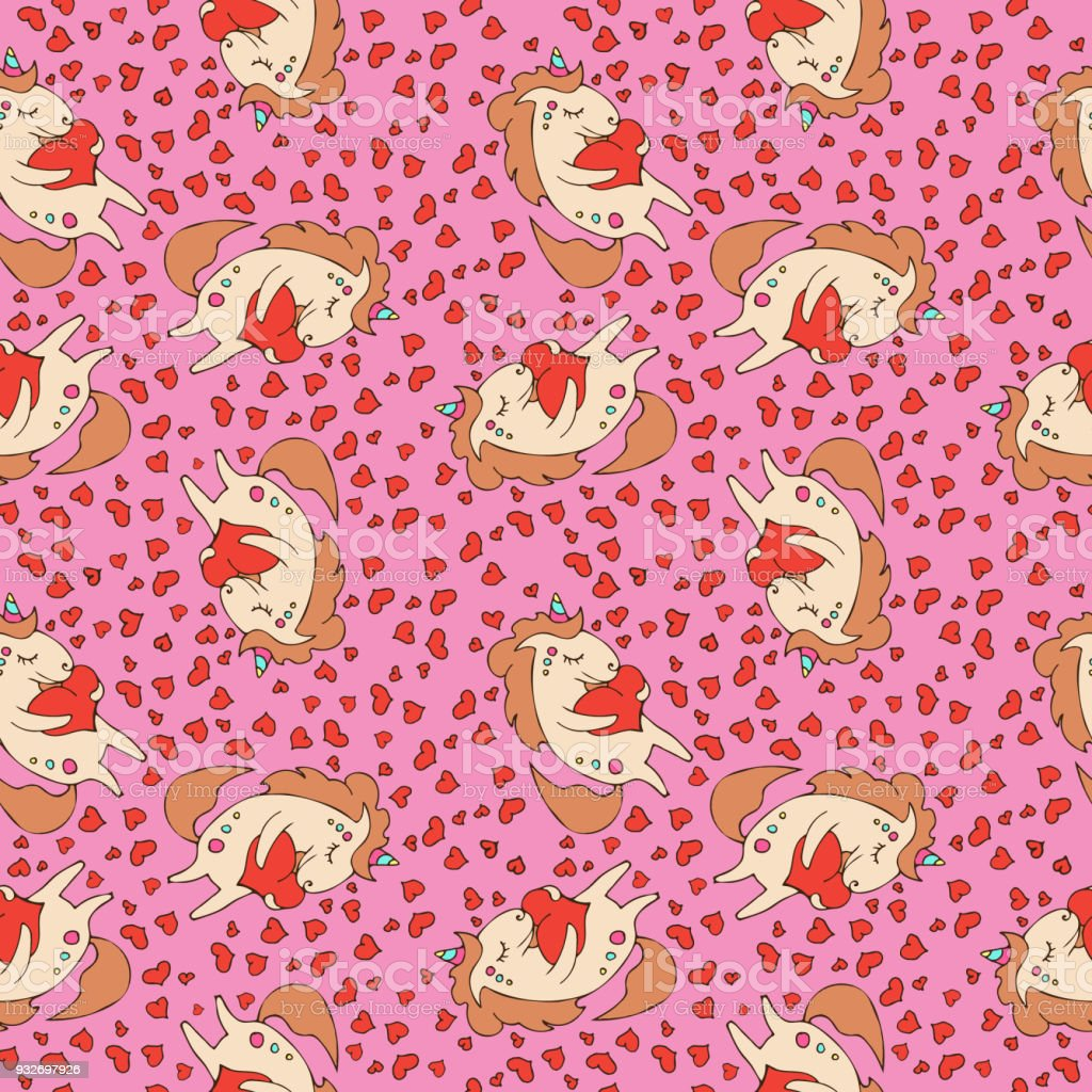 Magic Cute Unicorn With Heart Seamless Pattern Happy Valentines Day