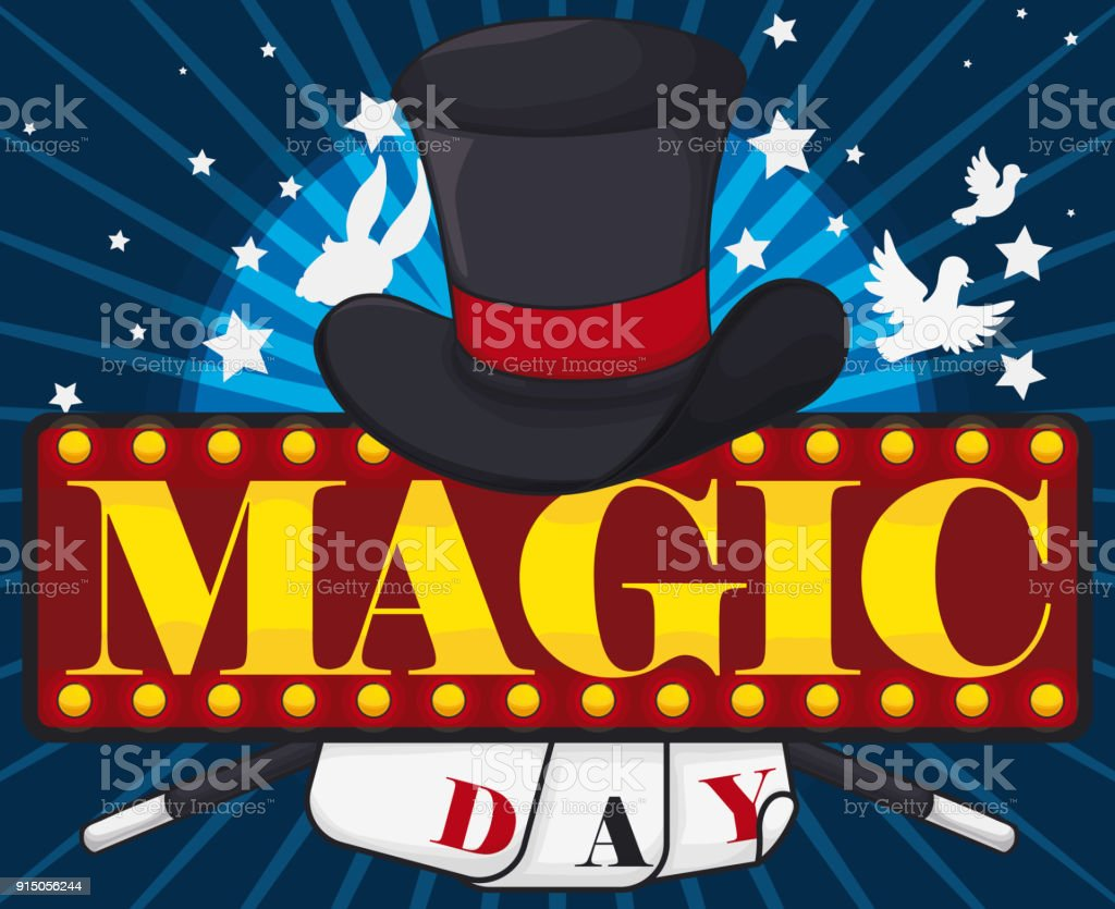 magic day design with magical elements hat cards and wands stock