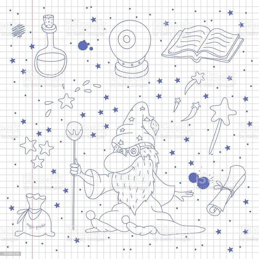 Magic doodle set on school notebook background vector art illustration