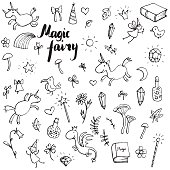 magic doodle set, vector hand drawn isolated elements