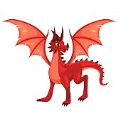 Magic Dragon. Fantasy colorful winged red creature. Medieval fairy tail animal, fire-breathing mythical reptile, flying dinosaur. Childish bright collection vector cartoon isolated single illustration