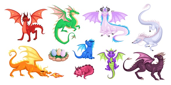 Magic dragons. Fantasy funny creatures, big flying fairy animals, fire-breathing legendary characters, adults and babies mythical reptiles. Childish bright cartoon vector set