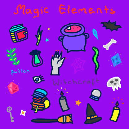 Magic Elements, Witchcraft Icons, Halloween Doodle Background