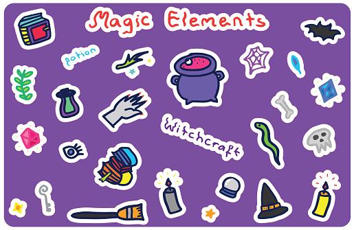 Magic Elements, Witchcraft Icons Sticker Set, Halloween Doodle Background