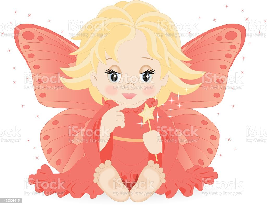 magic fairy in pink dress royalty-free stock vector art