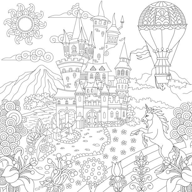 magic fairytale landscape - unicorn line drawings stock illustrations, clip art, cartoons, & icons