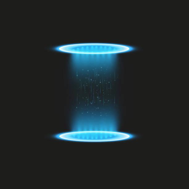 magic fantasy portal. futuristic teleport. light effect. blue candles rays of a night scene with sparks on a transparent background. empty light effect of the podium. disco club dancefloor - oś czasu pomoc wizualna stock illustrations