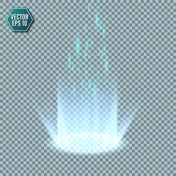 magic fantasy portal. futuristic teleport. light effect. blue candles rays of a night scene with sparks on a transparent background. empty light effect of the podium. disco club dancefloor. - oś czasu pomoc wizualna stock illustrations