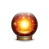 Magic fire crystal ball with lights. vector illustration - eps 10