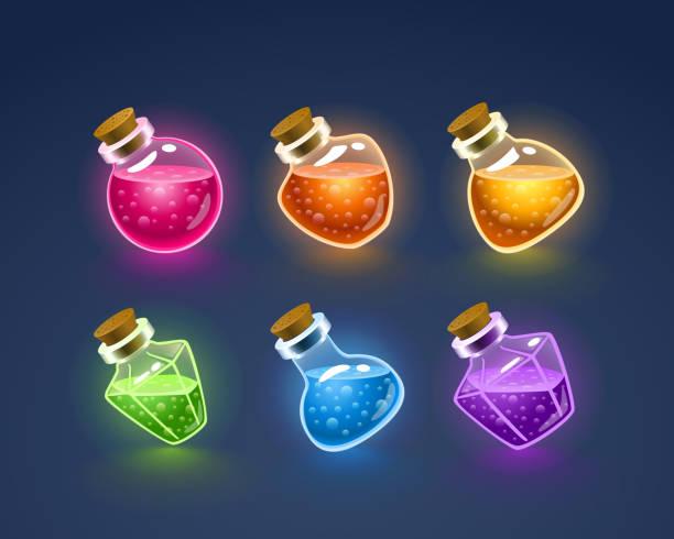Magic Flasks color set Magic Flasks color set, dark background. Vector illustration potion stock illustrations