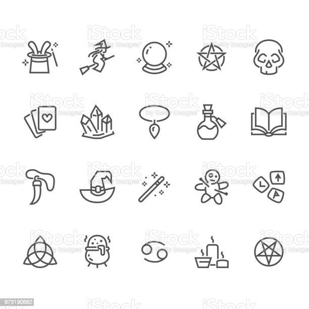Magic flat line icons witch flying on broomstick fortune teller vector id973190682?b=1&k=6&m=973190682&s=612x612&h=fscnhk0 zbghhjsy7xeppydsoetyjv tayywnrs5dq0=