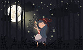 Magic forest illustrations with girl and forest plant. Cartoon poster for children's holidays, design and illustrations for books. Editable vector illustration