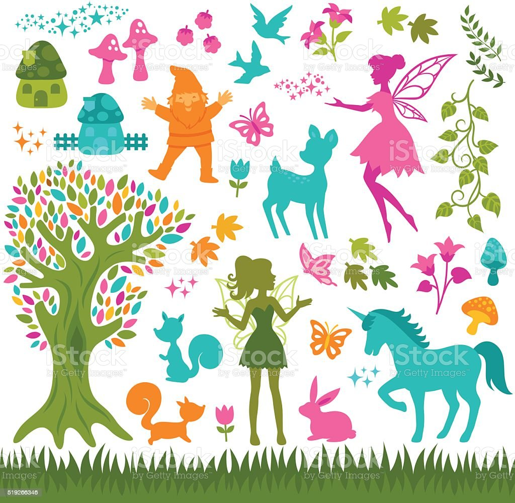 magic forest silhouettes vector art illustration