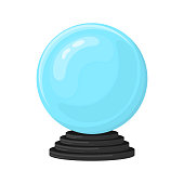 Magic fortune telling crystal ball isolated on white background. Blue sphere on black stand. Cartoon style. Vector illustration for any design.