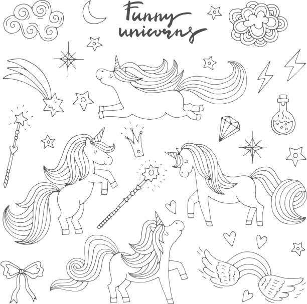 magic funny icon set. children doodle style. wizard, unicorn and miracle. vector illustration isolate on white background - unicorn line drawings stock illustrations, clip art, cartoons, & icons