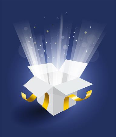 Magic gift box on blue background. Open magic gift box