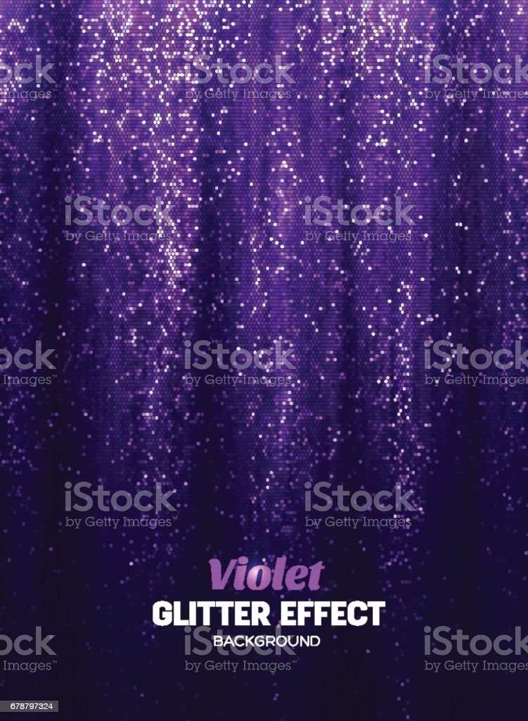 Magic Glitter Background in purple Color. Poster Backdrop with Shine Elements. vector art illustration