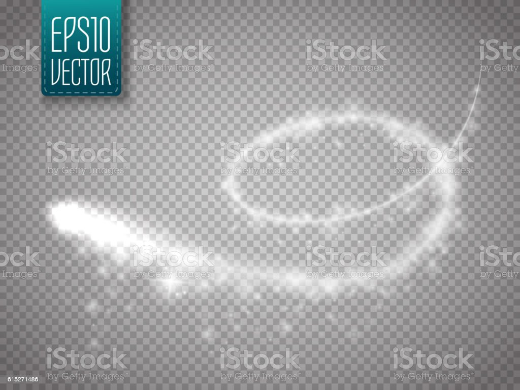Magic glowing spark swirl trail effect isolated on transparent background vector art illustration